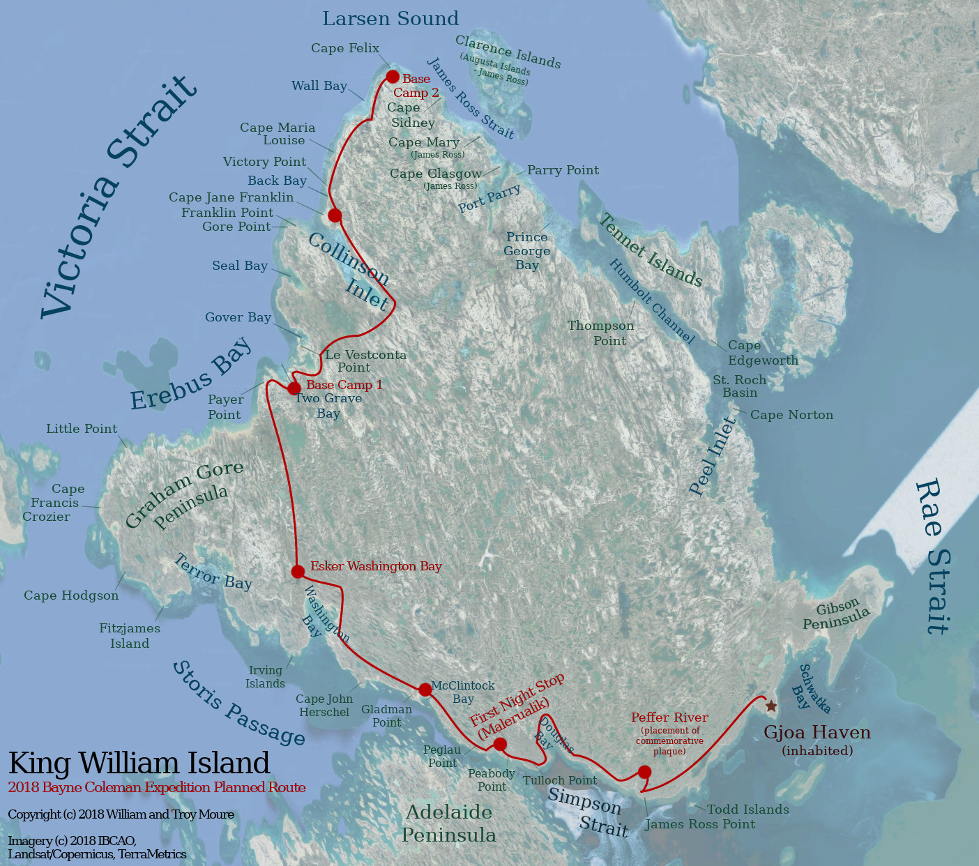 Map of King William Island with planned expedition route shown